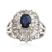 C. 1970 Vintage 1.25 Carat Sapphire and 1.70 ct. t.w. Diamond Cluster Ring in 14kt White Gold. Size 6