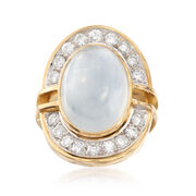 C. 1990 Vintage Moonstone Cabochon and 1.25 ct. t.w. Diamond Ring in 18kt Yellow Gold. Size 4
