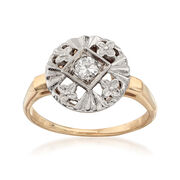 C. 1950 Vintage .20 ct. t.w. Diamond Floral Ring in 14kt Two-Tone Gold. Size 6