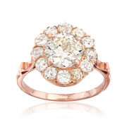 C. 1930 Vintage 2.63 ct. t.w. Diamond Cluster Ring in 14kt Rose Gold. Size 6