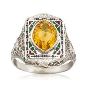 C. 1950 Vintage 1.75 Carat Citrine and Multicolored Enamel Frame Ring in 14kt White Gold. Size 6.5