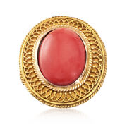 C. 1970 Vintage Coral Ring in 18kt Yellow Gold. Size 5