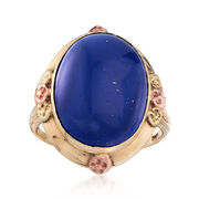C. 1910 Vintage Lapis Ring in 10kt Tri-Colored Gold. Size 6
