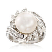 C. 1990 Vintage 11.3mm Cultured South Sea Pearl and 1.80 ct. t.w. Diamond Ring in 18kt White Gold. Size 6