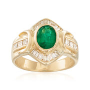 C. 1990 Vintage 1.05 Carat Emerald and .80 ct. t.w. Diamond Ring in 14kt Yellow Gold. Size 6