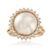 C. 1980 Vintage 14mm Mabe Pearl and .65 ct. t.w. Diamond Ring in 14kt Yellow Gold. Size 8