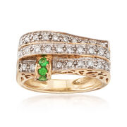 C. 1980 Vintage .45 ct. t.w. Diamond and .12 ct. t.w. Tsavorite Three-Row Ring in 14kt Yellow Gold. Size 6