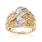 C. 1980 Vintage .75 ct. t.w. Yellow and White Diamond Ring in 14kt Yellow Gold. Size 6