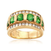 C. 1980 Vintage 1.30 ct. t.w. Emerald and .50 ct. t.w. Diamond Ring in 14kt Yellow Gold. Size 6