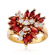 C. 1990 Vintage 2.15 ct. t.w. Garnet and .70 ct. t.w. CZ Ring in 14kt Gold Over Sterling. Size 8