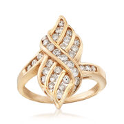 C. 1990 Vintage 1.00 ct. t.w. Diamond Cluster Ring in 14kt Yellow Gold. Size 7