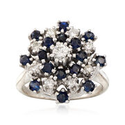 C. 1970 Vintage Sapphire and Diamond Cluster Ring in 14kt Yellow Gold. Size 5.25