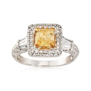 C. 2000 Vintage .75 Carat Square Cushion-Cut Yellow and 1.00 ct. t.w. White Diamond Ring in 14kt White Gold. Size 6.5
