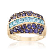 C. 1990 Vintage 1.40 ct. t.w. Blue Topaz and 1.00 ct. t.w. Iolite Ring in 14kt Yellow Gold. Size 7