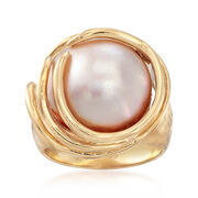 C. 1980 Vintage 15mm Cultured Mabe Pearl Ring in 14kt Yellow Gold. Size 6.5