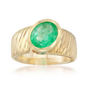 C. 1980 Vintage 3.80 Carat Oval Emerald Ring in 14kt Yellow Gold. Size 10
