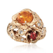 C. 1980 Vintage 1.15 Carat Citrine and .23 Carat Garnet Ring in 14kt Yellow Gold. Size 5.75