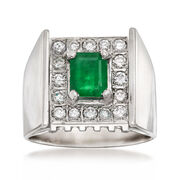 C. 1970 Vintage .85 Carat Emerald and .65 ct. t.w. Diamond Ring in 18kt White Gold. Size 7