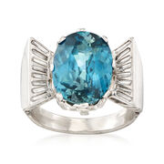 C. 1960 Vintage 7.74 Carat Blue Zircon and .40 ct. t.w. Diamond Ring in Platinum. Size 6.5