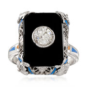 C. 1950 Vintage Black Onyx and Diamond Ring in 14kt White Gold. Size 5.25