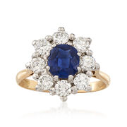 C. 1980 Vintage 1.17 Carat Sapphire and 1.00 ct. t.w. Diamond Ring in 18kt White and Yellow Gold. Size 6