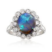 C. 1980 Vintage Black Opal and Diamond Ring in 18kt White Gold. Size 7.75