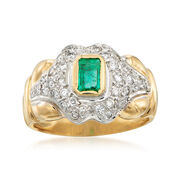 C. 1990 Vintage Emerald and Diamond Ring in 18kt Two-Tone Gold. Size 7