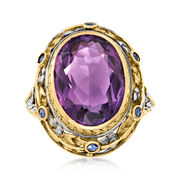 C. 1950 Vintage 6.70 Carat Amethyst and Sapphire Floral Ring in 14kt Yellow Gold and Sterling Silver. Size 6.75