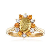 C. 1980 Vintage Yellow Sapphire, Diamond and Citrine Ring in 14kt Yellow Gold
