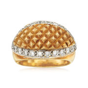 C. 1990 Vintage .60 ct. t.w. Diamond Grid Ring in 18kt Two-Tone Gold. Size 7