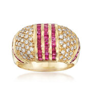 C. 1990 Vintage 2.00 ct. t.w. Ruby and .80 ct. t.w. Diamond Dome Ring in 18kt Yellow Gold. Size 7