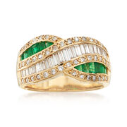 C. 1980 Vintage 1.02 ct. t.w. Diamond and .76 ct. t.w. Emerald Crossover Ring in 18kt Yellow Gold. Size 6.5