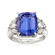 C. 1990 Vintage 6.50 Carat Cushion-Cut Tanzanite and .80 ct. t.w. Diamond Ring in Platinum. Size 6