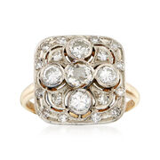 C. 1950 Vintage 1.50 ct. t.w. Diamond Cluster Ring in 14kt Two-Tone Gold. Size 8