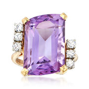 C. 1980 Vintage 10.00 Carat Cushion-Cut Amethyst and .35 ct. t.w. CZ Ring in 18kt Yellow Gold. Size 5
