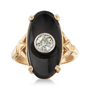 C. 1950 Vintage Oval Black Onyx and .50 Carat Diamond Ring in 14kt Yellow Gold. Size 5.5