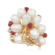 C. 1970 Vintage Cultured Pearl and .30 ct. t.w. Ruby Ring in 14kt Yellow Gold With Diamond Accents. Size 6.5