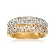 C. 1990 Vintage 1.20 ct. t.w. Double-Band Pave Diamond Ring in Two-Tone Gold. Size 6.5