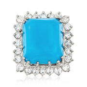 C. 1980 Vintage 14.5x12.5mm Turquoise and 1.25 ct. t.w. Diamond Ring in Platinum. Size 5