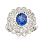 C. 2000 Vintage 1.85 Carat Sapphire and .90 ct. t.w. Diamond Ring in Platinum. Size 6.5