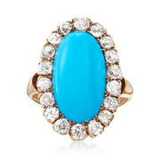 C. 1920 Vintage Reconstituted Aqua Turquoise and 1.10 ct. t.w. Diamond Halo Ring in 14kt Yellow Gold. Size 4