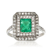 C. 1930 Vintage .65 Carat Emerald and .50 ct. t.w. Diamond Ring in 18kt White Gold. Size 4.25