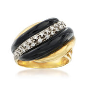 C. 1980 Vintage Black Onyx and .50 ct. t.w. Diamond Ring in 18kt Yellow Gold. Size 7.75