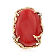 C. 1970 Vintage 26x19mm Coral Ring With Diamond Accents in 14kt Yellow Gold. Size 7