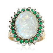 C. 1970 Vintage Opal, .45 ct. t.w. Emerald and .40 ct. t.w. Diamond Ring in 14kt Yellow Gold. Size 7.25