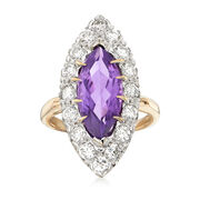 C. 1970 Vintage 2.65 Carat Amethyst and 1.50 ct. t.w. Diamond Ring in 14kt Yellow Gold. Size 6