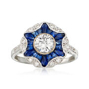 C. 2016 1.20 ct. t.w. Sapphire and .86 ct. t.w. Diamond Burst Ring in 18kt White Gold. Size 6.75
