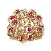 C. 1970 Vintage .65 ct. t.w. Ruby and .30 ct. t.w. Diamond Cluster Ring in 14kt Yellow Gold. Size 7.5