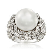 C. 1990 Vintage 14mm Cultured Pearl and 2.20 ct. t.w. Diamond Ring in 18kt White Gold. Size 7