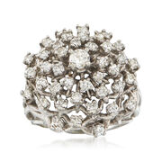 C. 1970 Vintage 1.50 ct. t.w. Diamond Cluster Ring in 14kt White Gold. Size 7.5